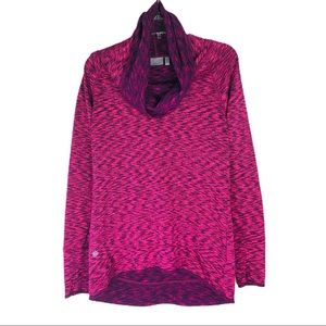 Athleta pink space dye Tranquility cowl pullover